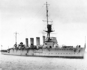 HMAS Adelaide (I) in her original configuration with four funnels. Image credit: Department of Defence