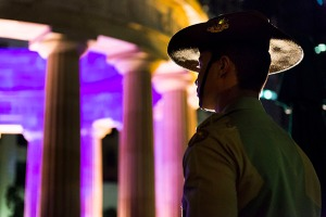 Private Victor Esguerra at the ANZAC Day pre-dawn service, ANZAC Square, Brisbane, QLD, 25 April 2014.